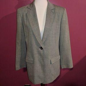 Pendleton Gray Herringbone Tweed Blazer Size 8
